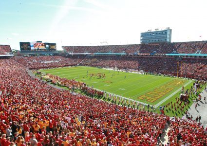 Sep 12, 2015; Ames, IA, USA; Iowa State Cyclones new remodeled stadium is seen for the annual game against in-state rival the Iowa Hawkeyes at Jack Trice Stadium. Mandatory Credit: Reese Strickland-USA TODAY Sports