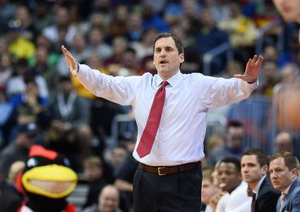 Mar 17, 2016; Denver , CO, USA; Iowa State Cyclones head coach Steve Prohm in the closing seconds of Iowa State vs Iona in the first round of the 2016 NCAA Tournament at Pepsi Center. Mandatory Credit: Ron Chenoy-USA TODAY Sports