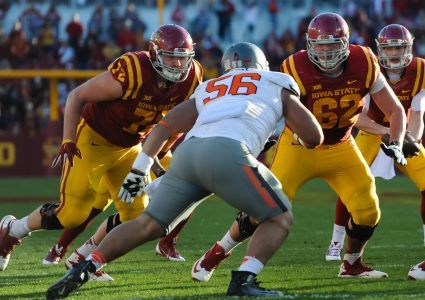 Nov 14, 2015; Ames, IA, USA; Iowa State Cyclones offensive lineman Nick Fett (62) and offensive lineman Brock Dagel (72) look to block Oklahoma State Cowboys defensive tackle Motekiai Maile (56) at Jack Trice Stadium. Mandatory Credit: Steven Branscombe-USA TODAY Sports