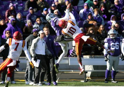 Nov 21, 2015; Manhattan, KS, USA; Iowa State Cyclones defensive back Brian Peavy (10) breaks up a pass intended for Kansas State Wildcats wide receiver Andre Davis (2) during a game at Bill Snyder Family Football Stadium. The Wildcats won the game 38-35. Mandatory Credit: Scott Sewell-USA TODAY Sports
