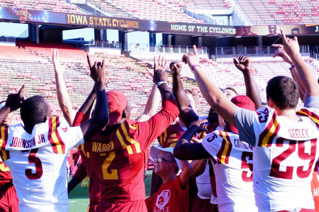 A touchdown celebration — one of many — at ISU's Victory Day on Aug. 26, 2016.