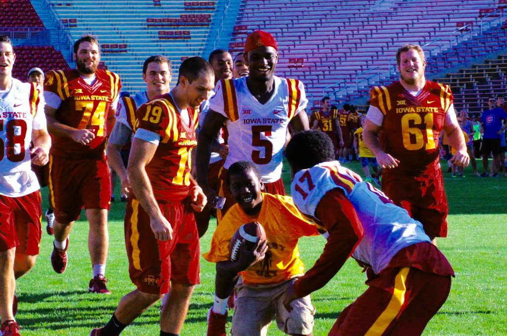 """Fun, smiles and touchdowns at ISU's """"Victory Day"""" Aug. 27, 2016 at Jack Trice Stadium."""