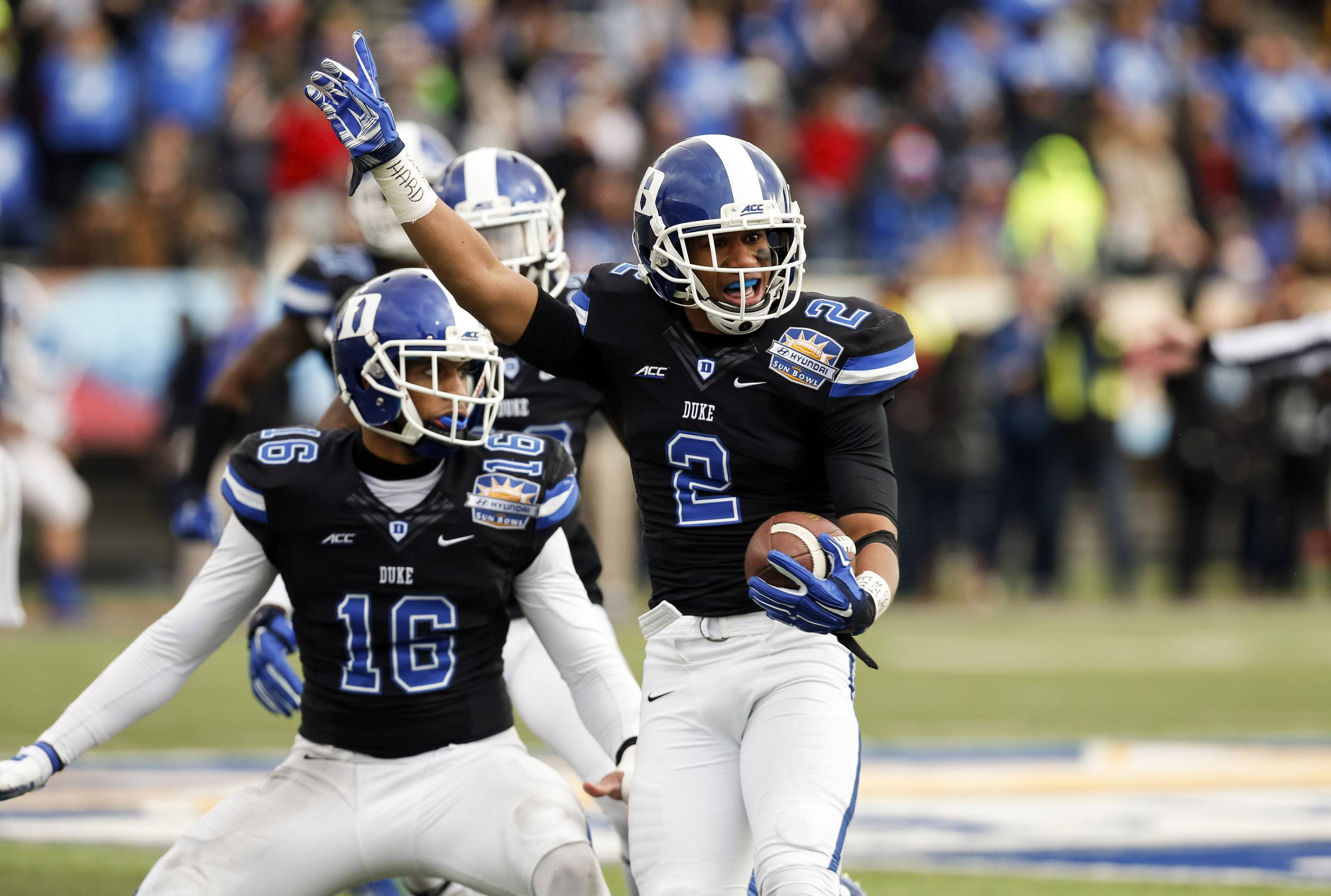 Dec 27, 2014; El Paso, TX, USA; Duke Blue Devils safety Evrett Edwards (2) celebrates after an interception against the Arizona State Sun Devils in the 2014 Sun Bowl at Sun Bowl Stadium. The interception was overturned after a replay review. Mandatory Credit: Ivan Pierre Aguirre-USA TODAY Sports