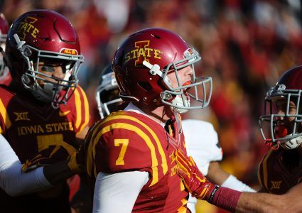 Nov 14, 2015; Ames, IA, USA; Iowa State Cyclones quarterback Joel Lanning (7) celebrates after scoring on the first drive against the Oklahoma State Cowboys at Jack Trice Stadium. Mandatory Credit: Steven Branscombe-USA TODAY Sports