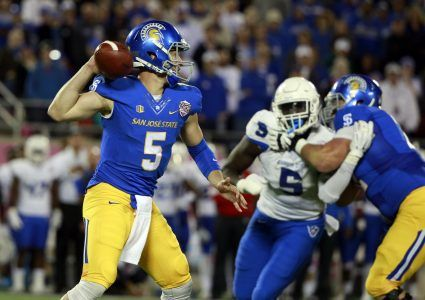 Dec 19, 2015; Orlando, FL, USA; San Jose State Spartans quarterback Kenny Potter (5) throws the ball against the Georgia State Panthers during the second quarter in the 2015 Cure Bowl at Citrus Bowl Stadium. Mandatory Credit: Kim Klement-USA TODAY Sports