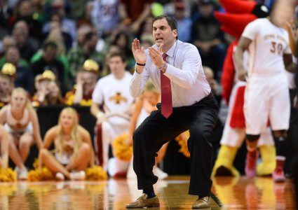 Mar 17, 2016; Denver , CO, USA; Iowa State Cyclones head coach Steve Prohm during Iowa State vs Iona in the first round of the 2016 NCAA Tournament at Pepsi Center. Mandatory Credit: Ron Chenoy-USA TODAY Sports