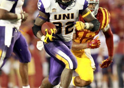 Sep 5, 2015; Ames, IA, USA; Northern Iowa Panthers running back Tyvis Smith (32) runs for a first down agains the Iowa State Cyclones at Jack Trice Stadium. Mandatory Credit: Reese Strickland-USA TODAY Sports