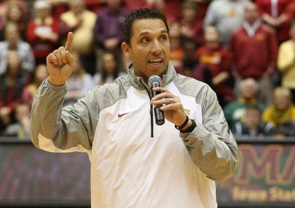 Dec 1, 2015; Ames, IA, USA; against the Iowa State Cyclones new head football coach Matt Campbell address the fans at James H. Hilton Coliseum. Mandatory Credit: Reese Strickland-USA TODAY Sports