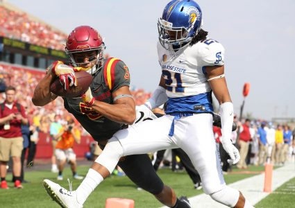 Sep 24, 2016; Ames, IA, USA;  Iowa State Cyclones wide receiver Allen Lazard (5) catches a touchdown pass while defended by San Jose State Spartans cornerback Andre Chachere (21) during the game at Jack Trice Stadium. Mandatory Credit: Reese Strickland-USA TODAY Sports