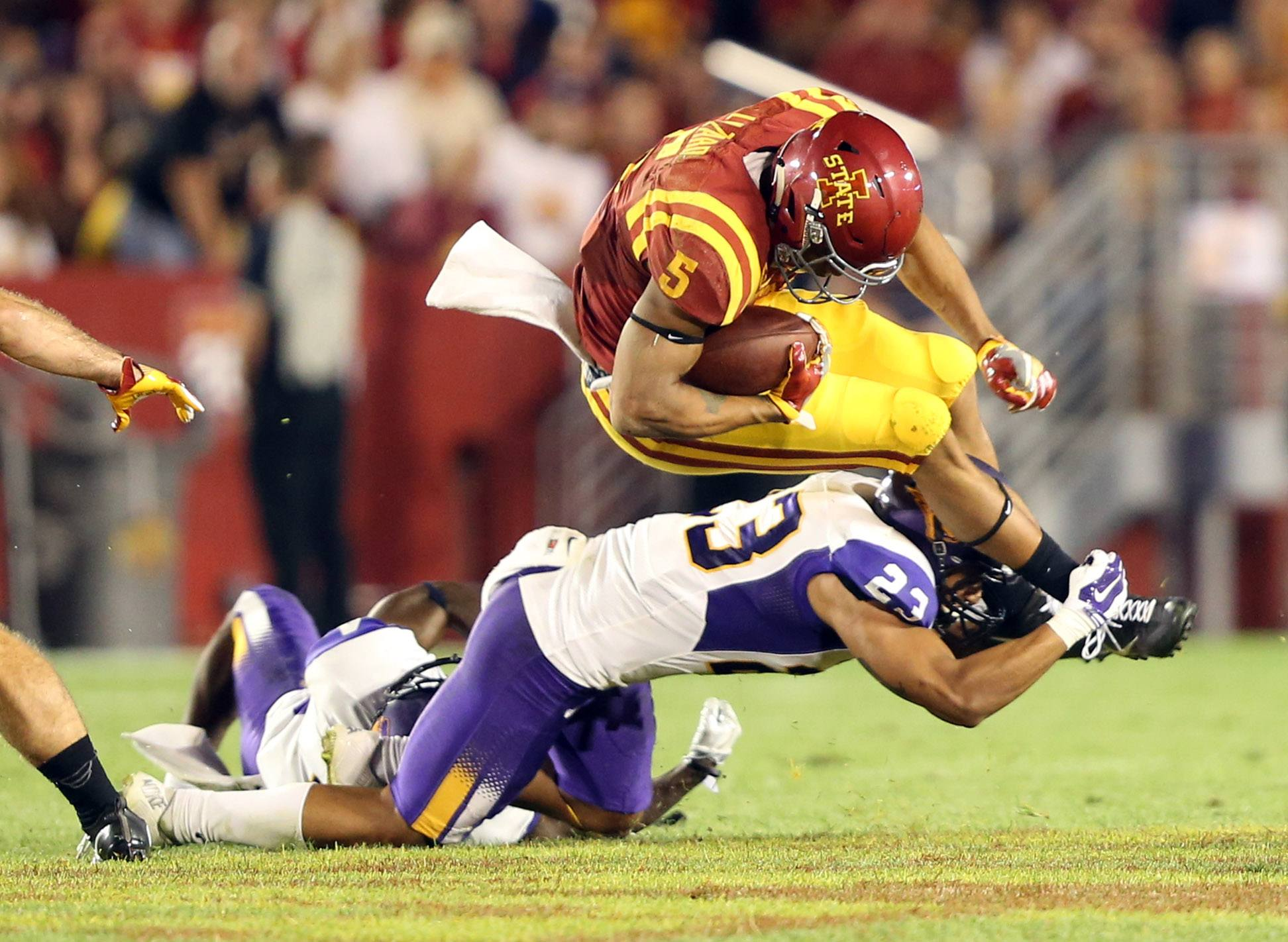 Sep 3, 2016; Ames, IA, USA; Northern Iowa Panthers linebacker A.J. Allen (23) tackles Iowa State Cyclones wide receiver Allen Lazard (5) at Jack Trice Stadium. The Panthers beat the Cyclones 25-20. Mandatory Credit: Reese Strickland-USA TODAY Sports