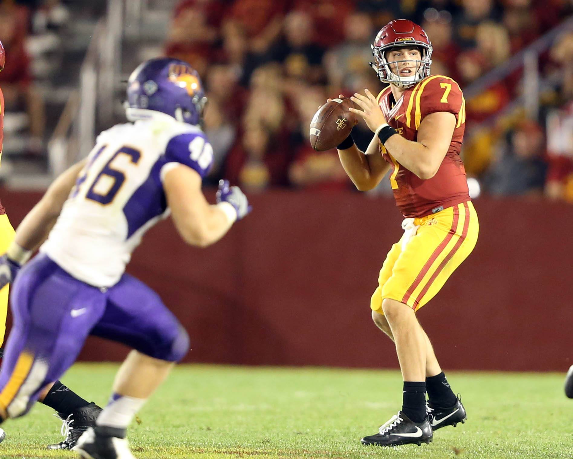 Sep 3, 2016; Ames, IA, USA; Iowa State Cyclones quarterback Joel Lanning (7) looks to pass against the Northern Iowa Panthers at Jack Trice Stadium. The Panthers beat the Cyclones 25-20. Mandatory Credit: Reese Strickland-USA TODAY Sports
