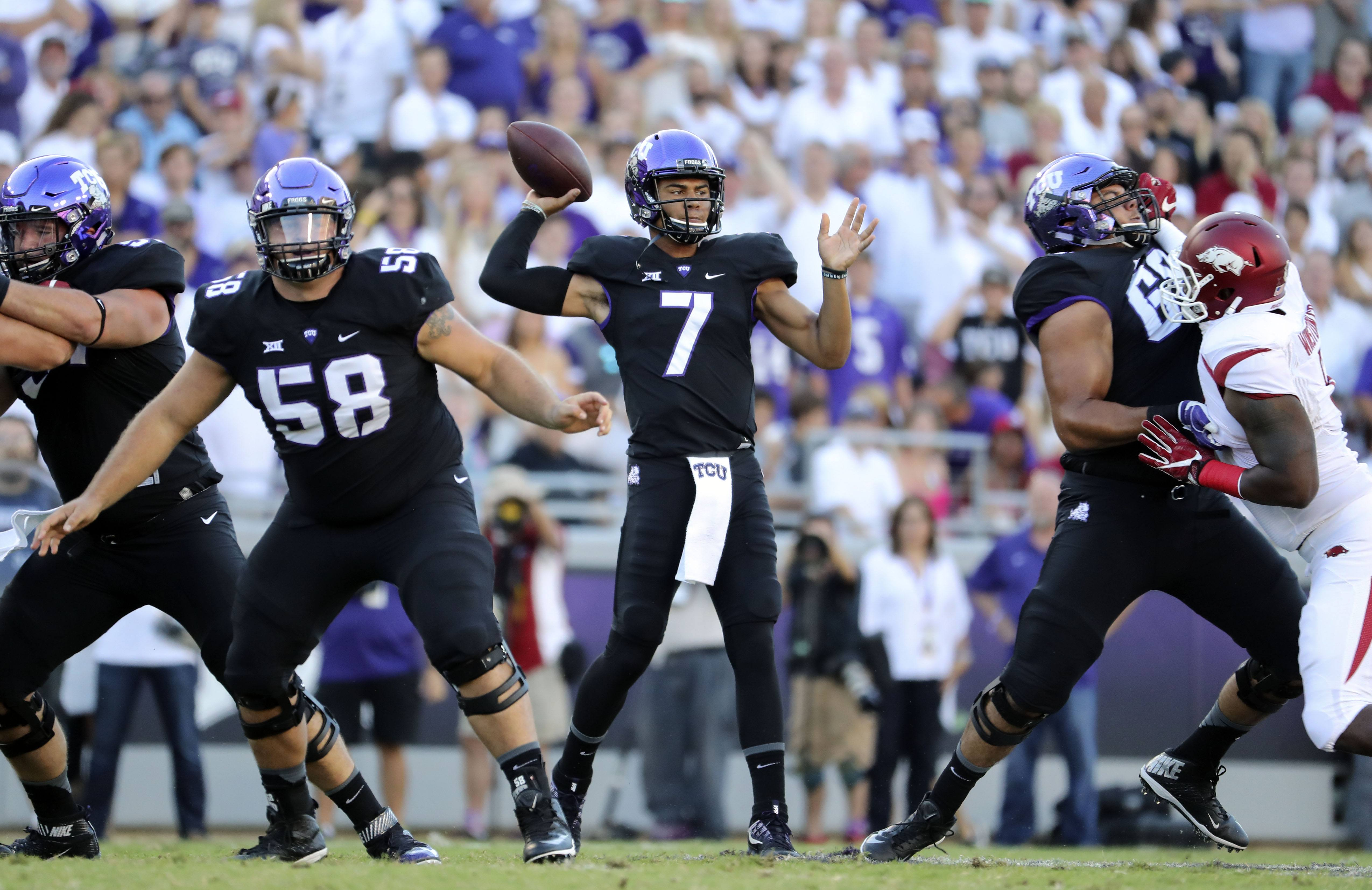 Sep 10, 2016; Fort Worth, TX, USA; TCU Horned Frogs quarterback Kenny Hill (7) throws during the first quarter against the Arkansas Razorbacks at Amon G. Carter Stadium. Mandatory Credit: Kevin Jairaj-USA TODAY Sports
