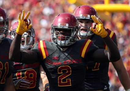 Sep 24, 2016; Ames, IA, USA; Iowa State Cyclones running back Mike Warren (2) celebrates after his touchdown against the San Jose State Spartans at Jack Trice Stadium. Mandatory Credit: Reese Strickland-USA TODAY Sports