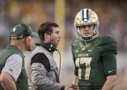 Sep 2, 2016; Waco, TX, USA; Baylor Bears offensive coordinator Kendal Briles talks to quarterback Seth Russell (17) as acting head coach Jim Grobe looks on during the first quarter of the game against the Northwestern State Demons at McLane Stadium. Mandatory Credit: Jerome Miron-USA TODAY Sports