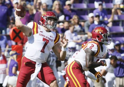 Sep 17, 2016; Fort Worth, TX, USA; Iowa State Cyclones quarterback Joel Lanning (7) throws a pass in the first quarter against the TCU Horned Frogs at Amon G. Carter Stadium. Mandatory Credit: Tim Heitman-USA TODAY Sports