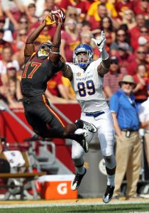 Sep 24, 2016; Ames, IA, USA; Iowa State Cyclones defensive back Jomal Wiltz (17) intercepts the pass in front of San Jose State Spartans tight end Josh Oliver (89) at Jack Trice Stadium. Mandatory Credit: Reese Strickland-USA TODAY Sports