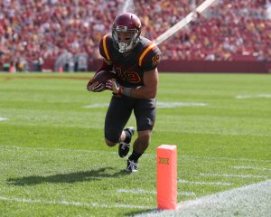 Sep 24, 2016; Ames, IA, USA; Iowa State Cyclones wide receiver Trever Ryen (19) eyes the pylon for a touchdown against the San Jose State Spartans at Jack Trice Stadium. The Cyclones beat the Spartans 44-10. Mandatory Credit: Reese Strickland-USA TODAY Sports