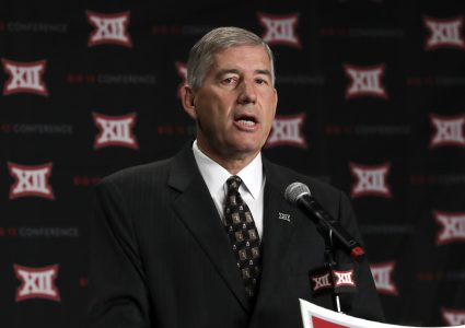 Jul 18, 2016; Dallas, TX, USA; Big 12 commissioner Bob Bowlsby speaks to the media during the Big 12 Media Days at Omni Dallas Hotel. Mandatory Credit: Kevin Jairaj-USA TODAY Sports