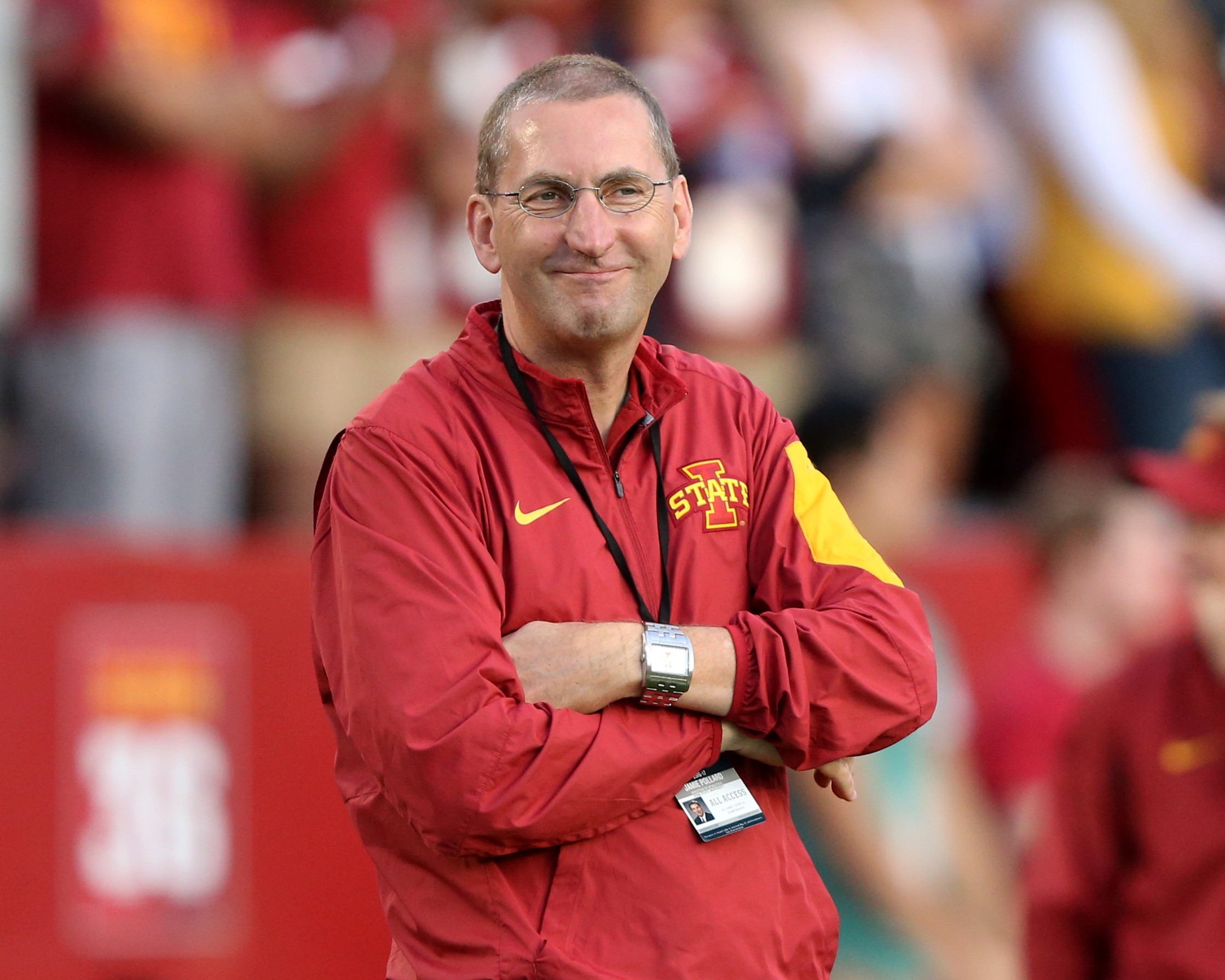 Sep 3, 2016; Ames, IA, USA; Iowa State athletic director Jamie Pollard watches the Cyclones pregame warmups for their game against the Northern Iowa Panthers at Jack Trice Stadium. Mandatory Credit: Reese Strickland-USA TODAY Sports