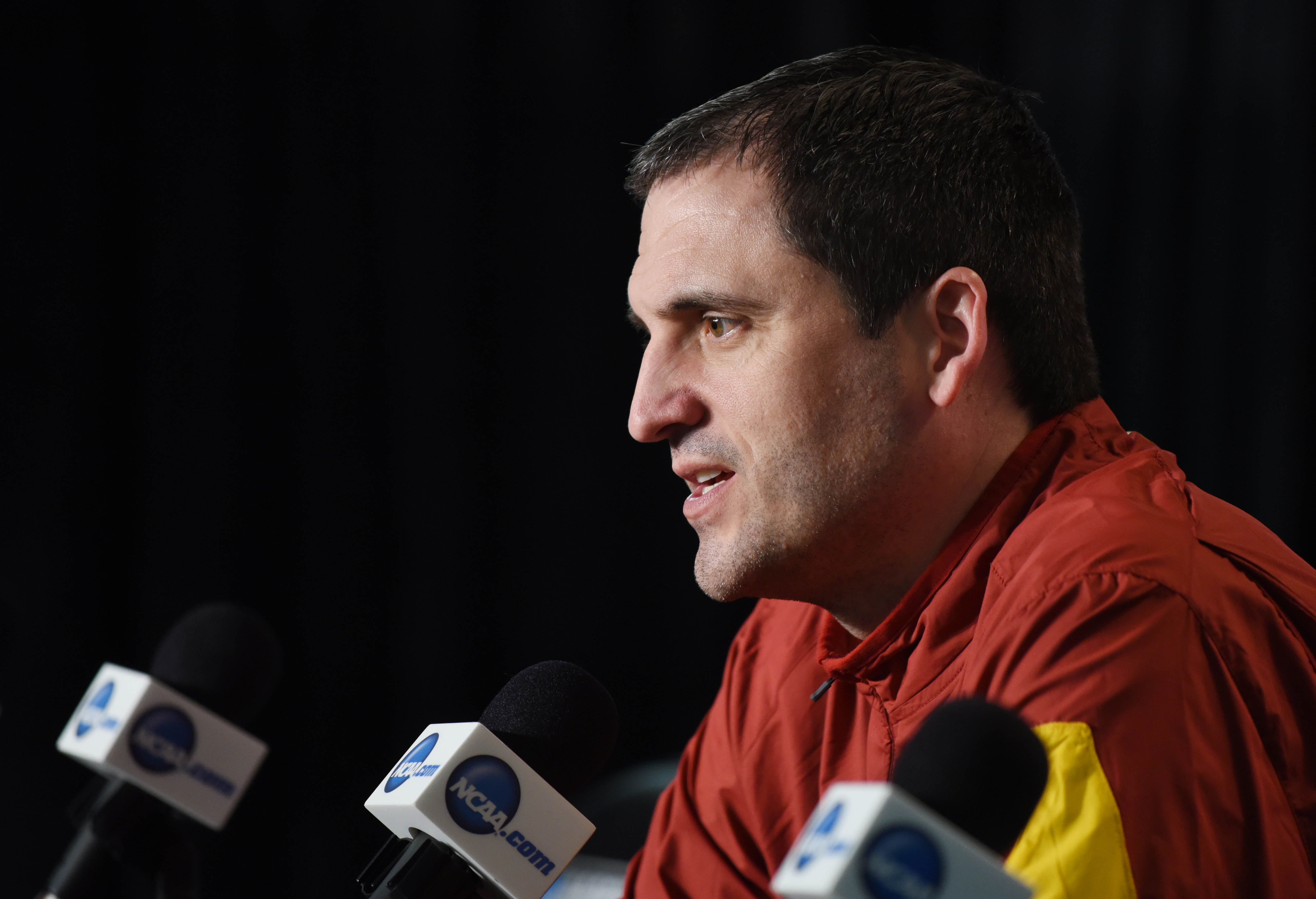 Mar 24, 2016; Chicago, IL, USA; Iowa State Cyclones head coach Steve Prohm at a press conference during practice the day before the semifinals of the Midwest regional of the NCAA Tournament at United Center. Mandatory Credit: David Banks-USA TODAY Sports