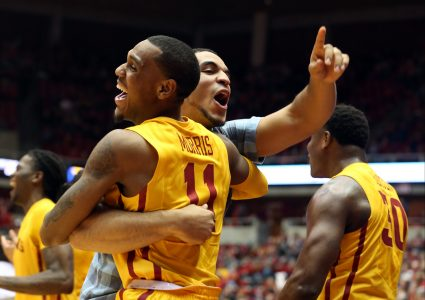 Dec 30, 2015; Ames, IA, USA; Iowa State Cyclones guard Monte Morris (11) and Iowa State Cyclones guard Nazareth Mitrou-Long (15) celebrate on the bench after the game against Coppin State Eagles at James H. Hilton Coliseum. Mandatory Credit: Reese Strickland-USA TODAY Sports