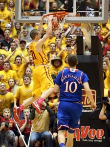 Jan 25, 2016; Ames, IA, USA; Iowa State Cyclones guard Matt Thomas (21) dunks late in the game against the Kansas Jayhawks at James H. Hilton Coliseum. The Cyclones beat the Jayhawks 85-72. Mandatory Credit: Reese Strickland-USA TODAY Sports