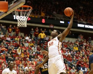 Feb 2, 2016; Ames, IA, USA; Iowa State Cyclones guard Deonte Burton (30) dunks against the West Virginia Mountaineers at James H. Hilton Coliseum. Mandatory Credit: Reese Strickland-USA TODAY Sports