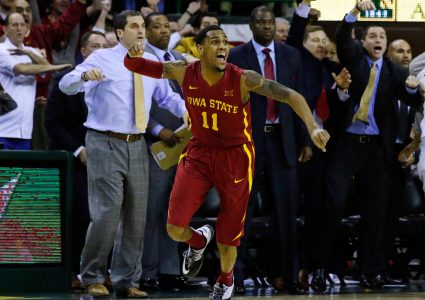 Feb 16, 2016; Waco, TX, USA; Iowa State Cyclones guard Monte Morris (11) reacts as his last second shot did not count sending the game to overtime against the Baylor Bears at Ferrell Center. Baylor won 100-91 in overtime. Mandatory Credit: Ray Carlin-USA TODAY Sports