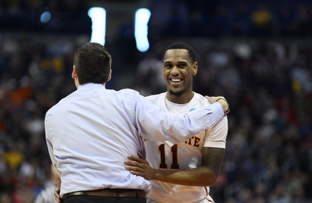 Mar 19, 2016; Denver , CO, USA; Iowa State Cyclones head coach Steve Prohm celebrates with Iowa State Cyclones guard Monte Morris (11) after Iowa State vs Arkansas Little Rock during the second round of the 2016 NCAA Tournament at Pepsi Center. Mandatory Credit: Ron Chenoy-USA TODAY Sports