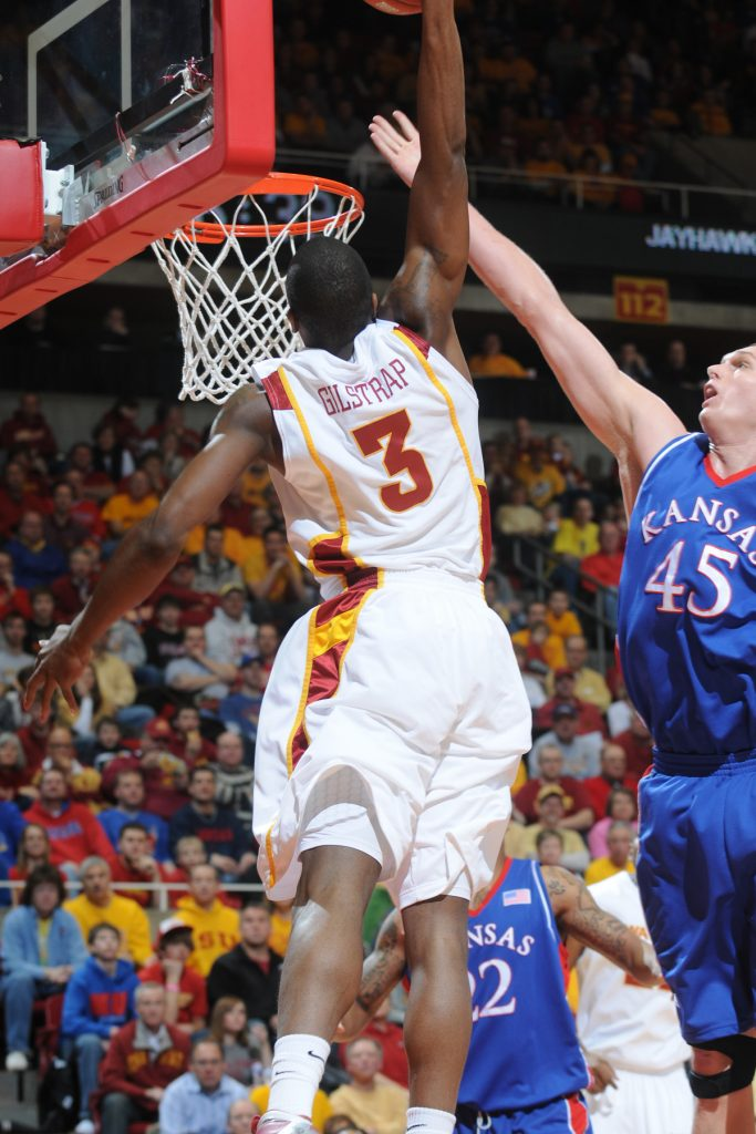 Marquis Gilstrap throws one down against Kansas. (Photo courtesy ISU Athletics Communications)