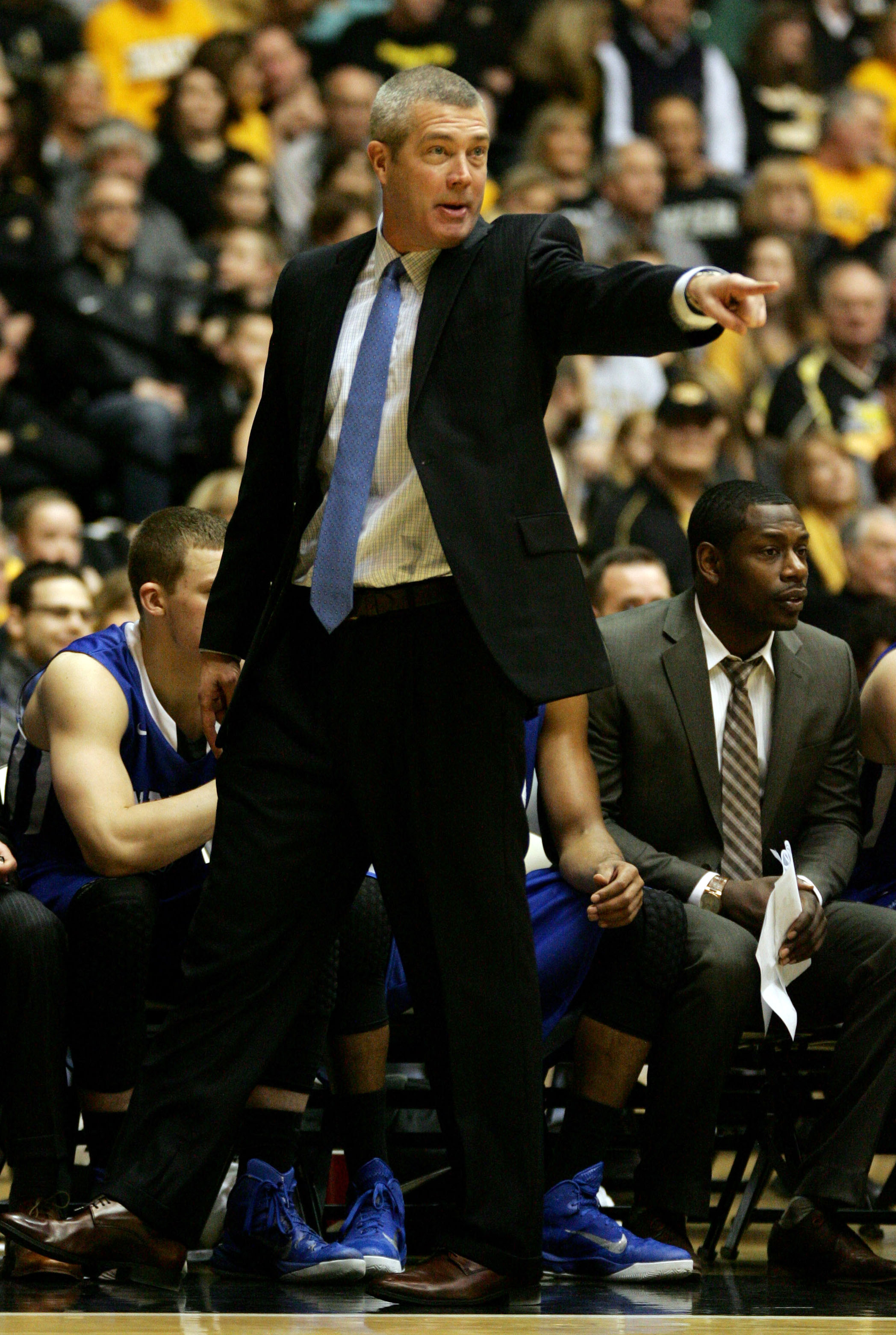 Feb 11, 2015; Wichita, KS, USA; Indiana State Sycamores head coach Greg Lansing instructs his team during the first half against the Indiana State Sycamores at Charles Koch Arena. Mandatory Credit: Scott Sewell-USA TODAY Sports