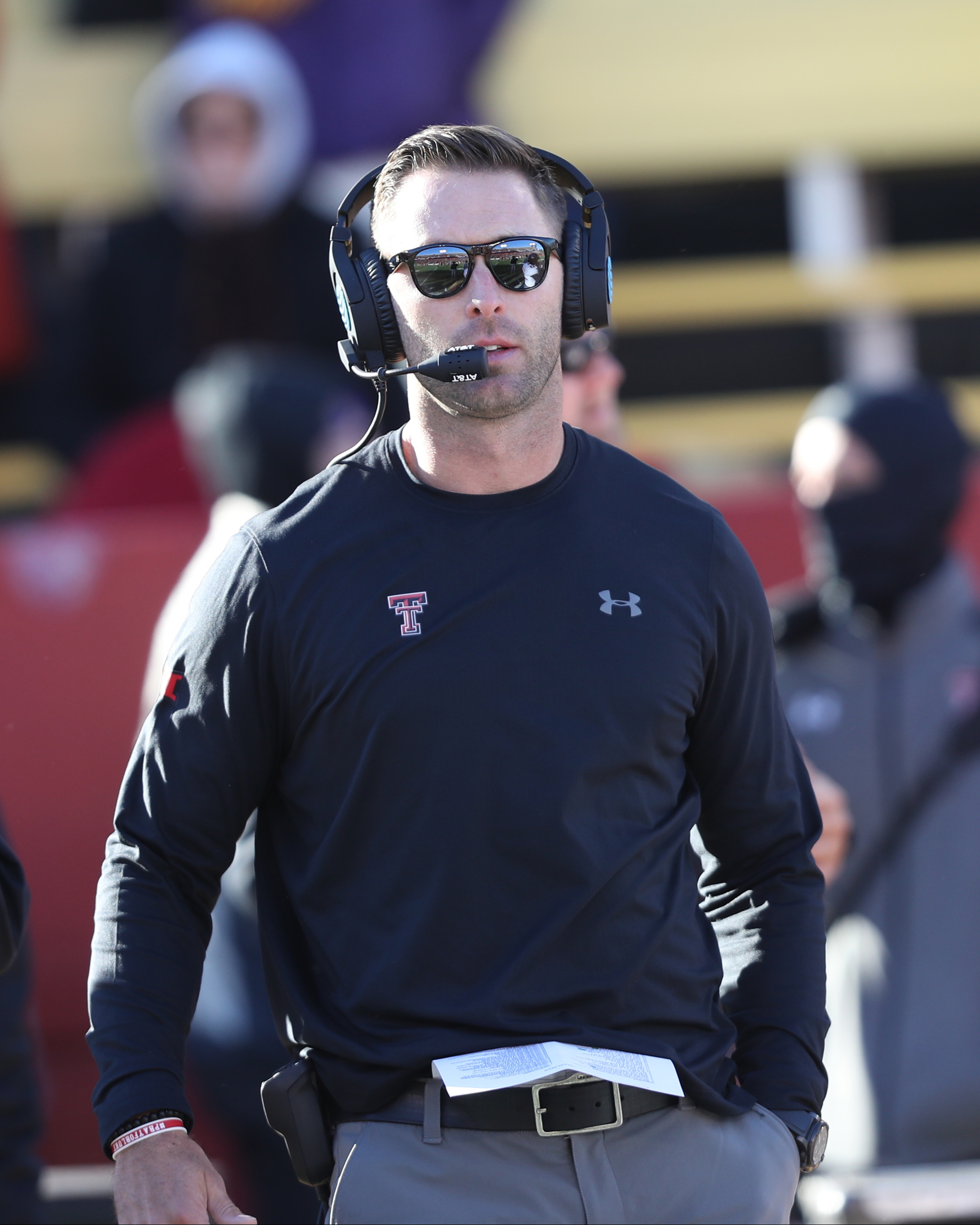 Nov 19, 2016; Ames, IA, USA; Texas Tech Red Raiders head coach Kliff Kingsbury paces the sidelines against the Iowa State Cyclones at Jack Trice Stadium. Mandatory Credit: Reese Strickland-USA TODAY Sports