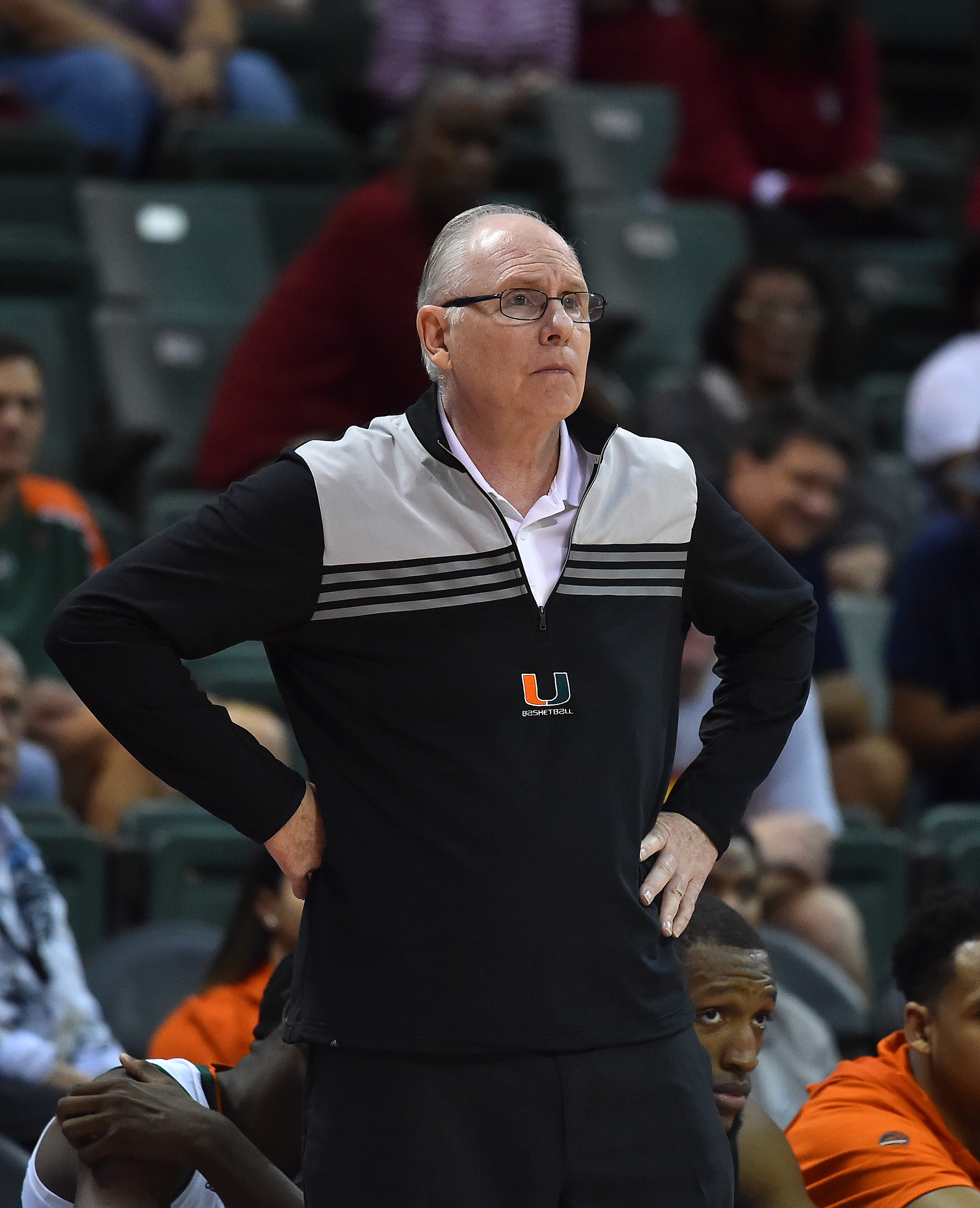Nov 24, 2016; Kissimmee, FL, USA; Miami Hurricanes head coach Jim Larranaga looks on in the game against the Stanford Cardinal during the second half at HP Field House. The Miami Hurricanes defeat the Stanford Cardinal 67-53. Mandatory Credit: Jasen Vinlove-USA TODAY Sports