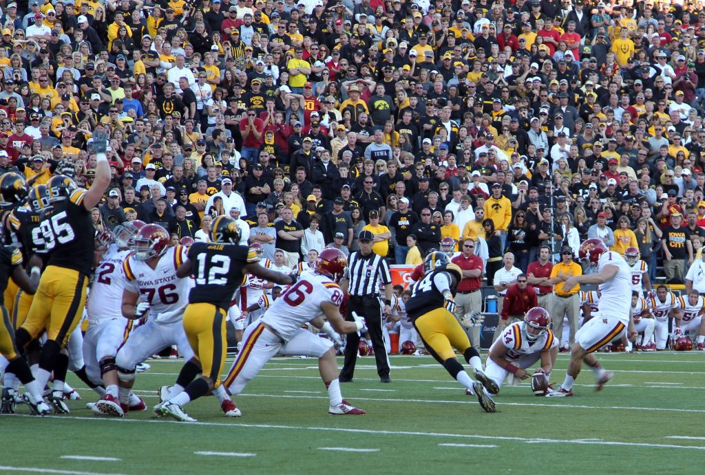 Sep 13, 2014; Iowa City, IA, USA; Iowa State Cyclones kicker Cole Netten (1) makes a 42 yard field goal with 2 seconds left to beat the Iowa Hawkeyes at Kinnick Stadium. The Cyclones beat the Hawkeyes 20-17. Mandatory Credit: Reese Strickland-USA TODAY Sports