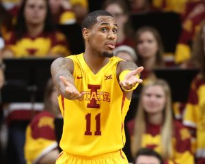 Nov 11, 2016; Ames, IA, USA; Iowa State Cyclones guard Monte Morris (11) looks to the officials for a call against the Savannah State Tigers at James H. Hilton Coliseum. The Cyclones beat the Tigers 113-71. Mandatory Credit: Reese Strickland-USA TODAY Sports