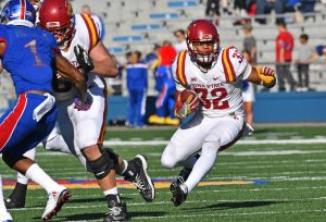 Nov 12, 2016; Lawrence, KS, USA; Iowa State Cyclones running back David Montgomery (32) rushes up field against the Kansas Jayhawks during the second half at Memorial Stadium. Mandatory Credit: Peter G. Aiken-USA TODAY Sports