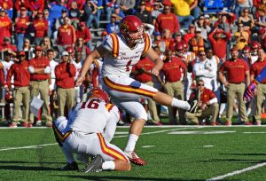 Nov 12, 2016; Lawrence, KS, USA; Iowa State Cyclones kicker Cole Netten (1) kicks a field goal against the Kansas Jayhawks during the second half at Memorial Stadium. Mandatory Credit: Peter G. Aiken-USA TODAY Sports