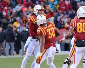 Nov 19, 2016; Ames, IA, USA; Iowa State Cyclones quarterback Jacob Park (10) celebrates with Iowa State Cyclones running back David Montgomery (32) after he scores a touchdown against the Texas Tech Red Raiders at Jack Trice Stadium. Mandatory Credit: Reese Strickland-USA TODAY Sports