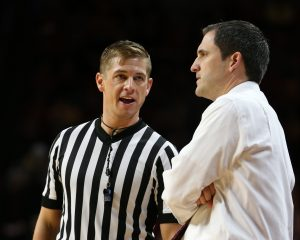 Nov 20, 2016; Ames, IA, USA; Iowa State Cyclones head coach Steve Prohm talks with an official during their game with the Citadel Bulldogs at James H. Hilton Coliseum. Mandatory Credit: Reese Strickland-USA TODAY Sports