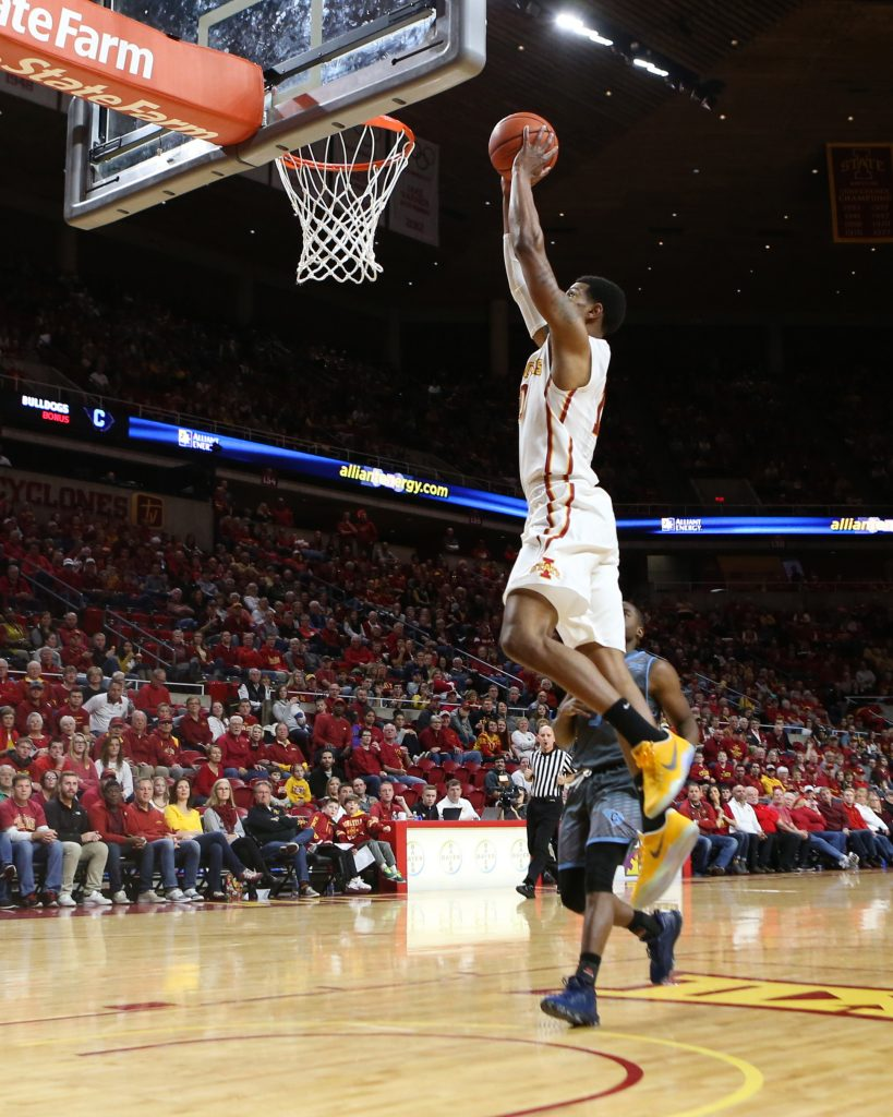 Nov 20, 2016; Ames, IA, USA; Iowa State Cyclones forward Darrell Bowie (10) dunks against the Citadel Bulldogs at James H. Hilton Coliseum. The Cyclones beat the Bulldogs 130-63. Mandatory Credit: Reese Strickland-USA TODAY Sports