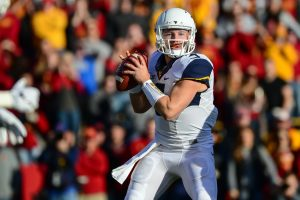 Nov 26, 2016; Ames, IA, USA; West Virginia Mountaineers quarterback Skyler Howard (3) looks to pass against the Iowa State Cyclones during the first quarter at Jack Trice Stadium. Mandatory Credit: Jeffrey Becker-USA TODAY Sports