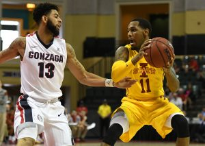 Nov 27, 2016; Kissimmee, FL, USA; Iowa State guard Monte Morris (11) looks to get past Gonzaga guard Josh Perkins (13) in the first half of the championship game of the 2016 Advocare Invitational at HP Field House. Mandatory Credit: Jonathan Dyer-USA TODAY Sports