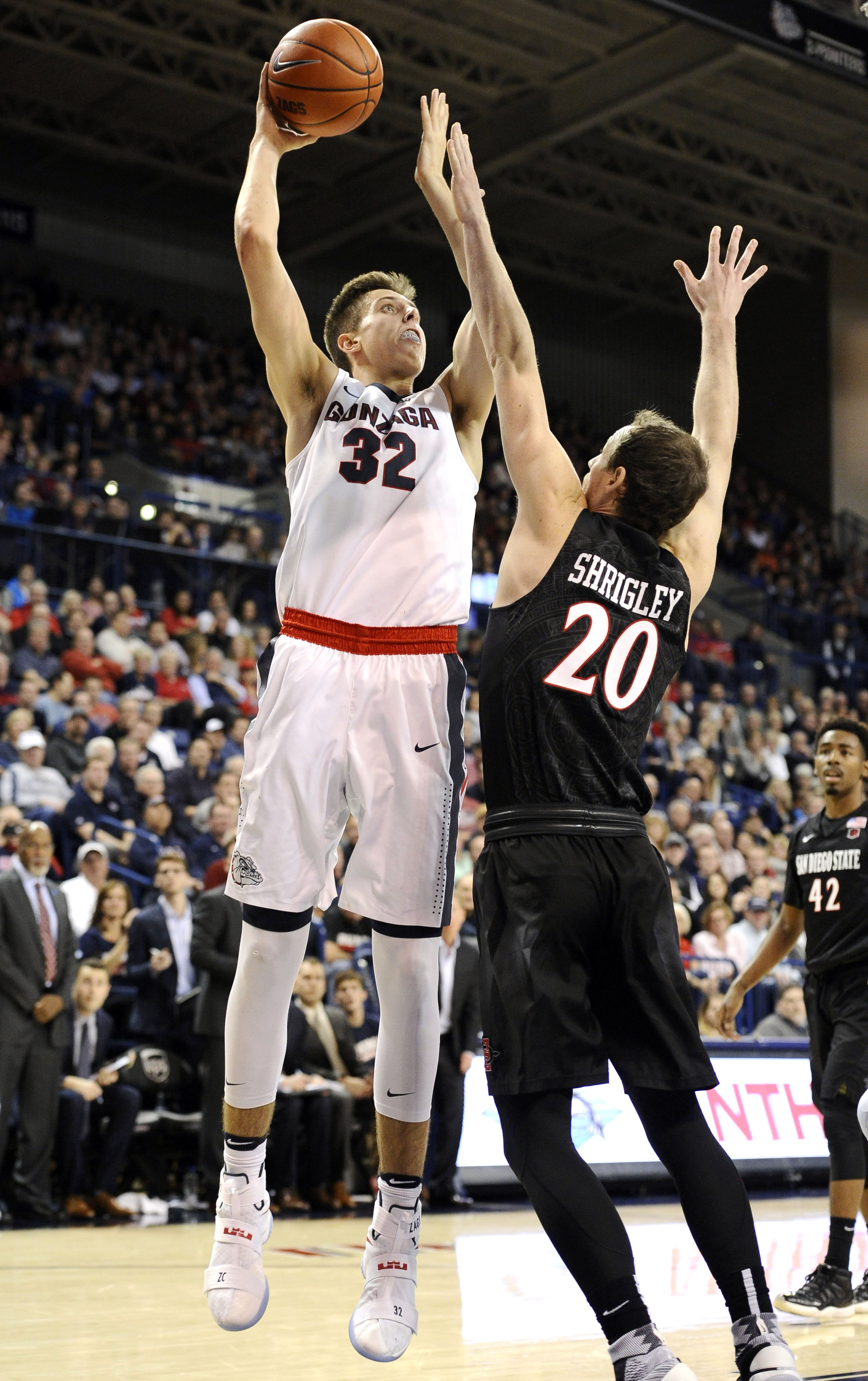 Nov 14, 2016; Spokane, WA, USA; Gonzaga Bulldogs forward Zach Collins (32) goes up for a shot against San Diego State Aztecs forward Matt Shrigley (20) during the first half at McCarthey Athletic Center. Mandatory Credit: James Snook-USA TODAY Sports