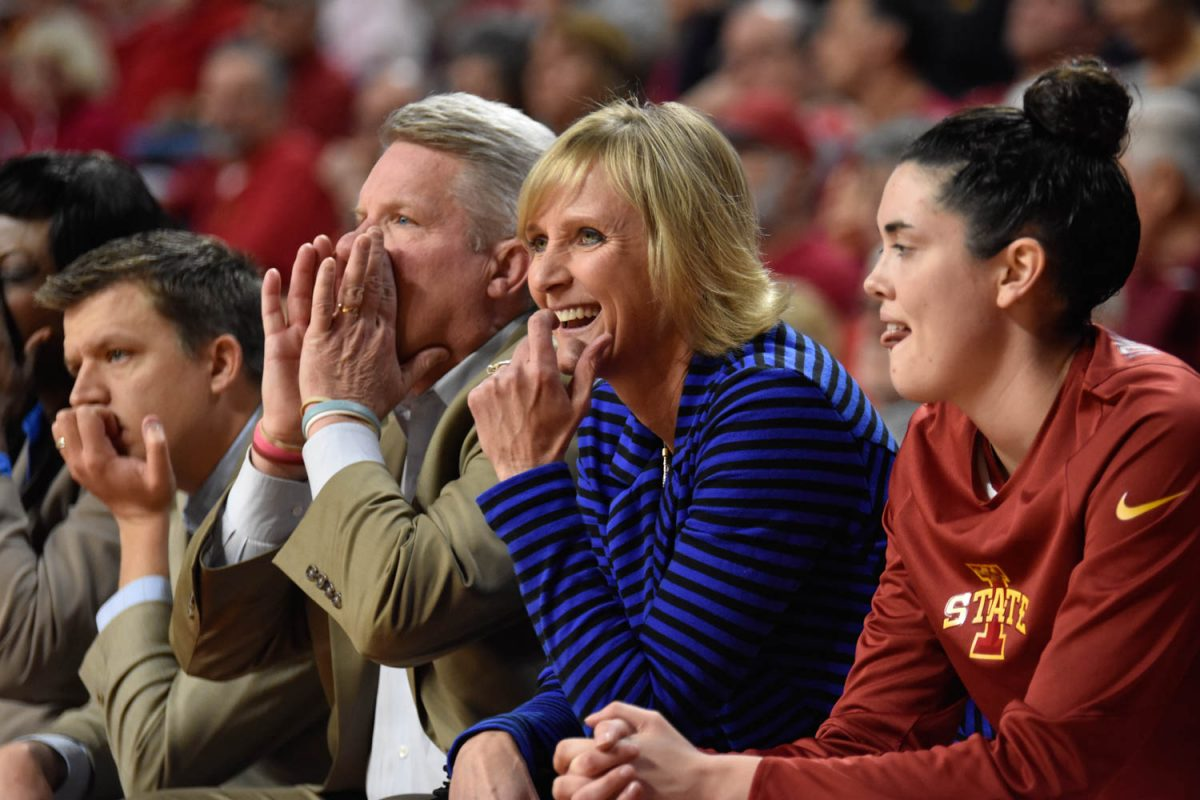 Head coach Bill Fennelly and associate head coach Jodi Steyer watch the Iowa State Cyclones 76-68 win against the UNI Panthers on Nov. 15. Credit: Lani Tons