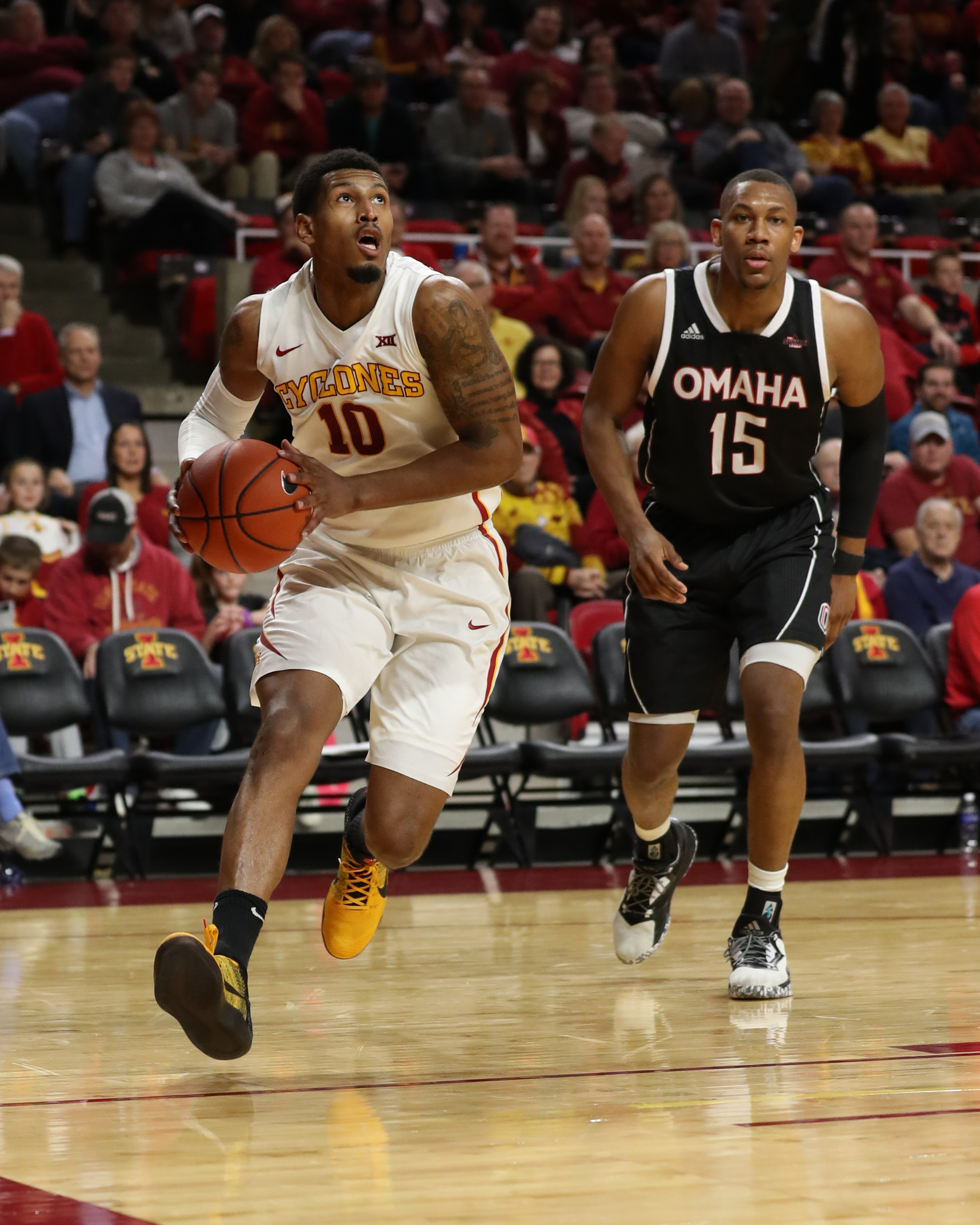 Dec 5, 2016; Ames, IA, USA; Iowa State Cyclones forward Darrell Bowie (10) looks to shoot against the Nebraska-Omaha Mavericks at James H. Hilton Coliseum. The Cyclones beat the Mavericks 91 to 47. Mandatory Credit: Reese Strickland-USA TODAY Sports