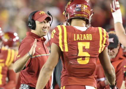 Nov 3, 2016; Ames, IA, USA; Iowa State Cyclones head coach Matt Campbell and Iowa State Cyclones wide receiver Allen Lazard (5) celebrate on the sidelines during their game with the Oklahoma Sooners at Jack Trice Stadium. Oklahoma beat Iowa State 34 to 24.  Mandatory Credit: Reese Strickland-USA TODAY Sports