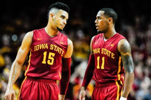 Dec 1, 2016; Ames, IA, USA; Iowa State Cyclones guard Nazareth Mitrou-Long (15) and guard Monte Morris (11) talk during the second half against the Cincinnati Bearcats at James H. Hilton Coliseum. Cincinnati won 55-54. Mandatory Credit: Jeffrey Becker-USA TODAY Sports