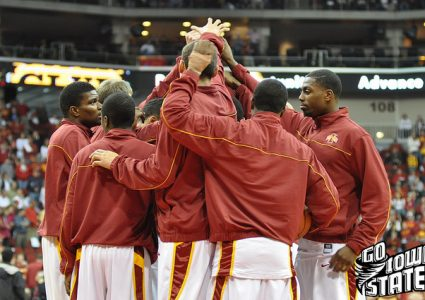 lg Iowa State Basketball 2010 team huddle